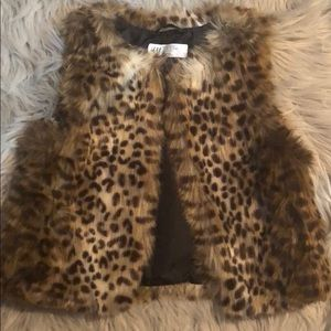 H&M animal print faux fur vest